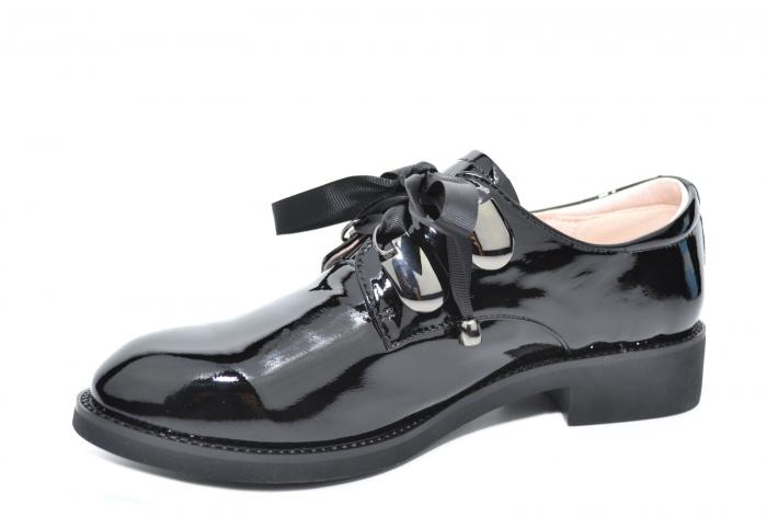 Pantofi Oxford Piele Naturala Neagra Tess D02078 2