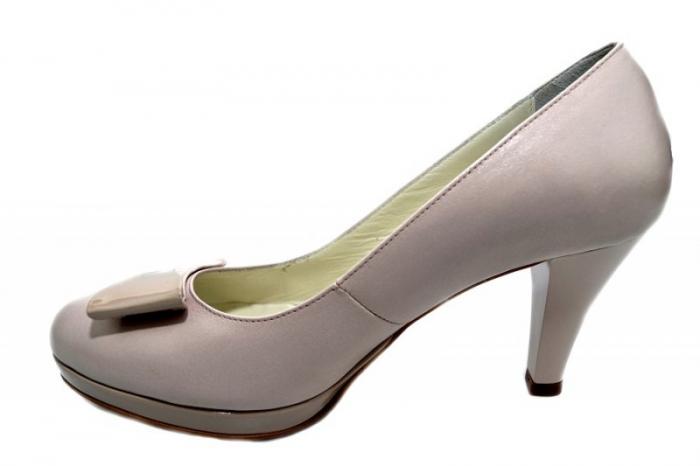 Pantofi cu toc Piele Naturala Nude Yolanda D01333 1