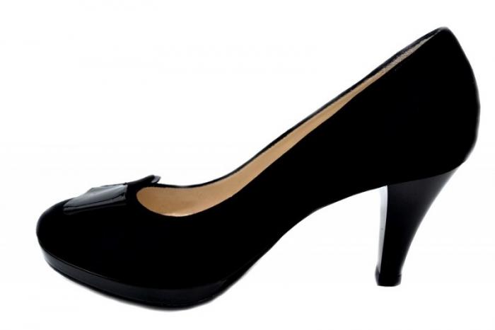 Pantofi cu toc Piele Naturala Negri Yolanda D01334 1