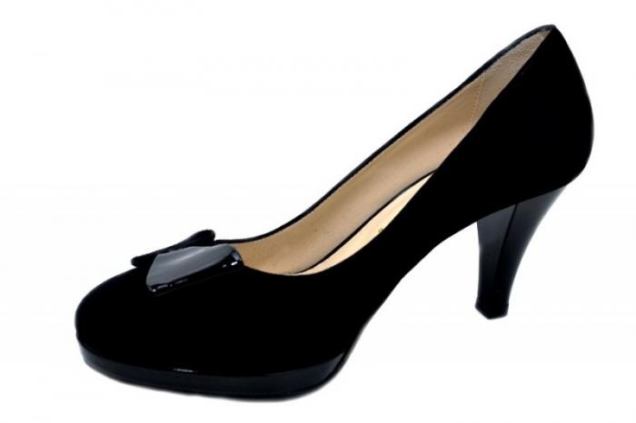 Pantofi cu toc Piele Naturala Negri Yolanda D01334 2
