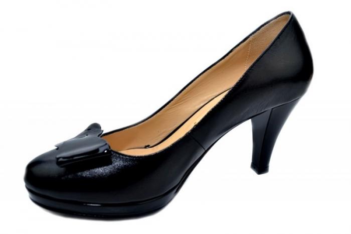Pantofi cu toc Piele Naturala Negri Yolanda D01335 2