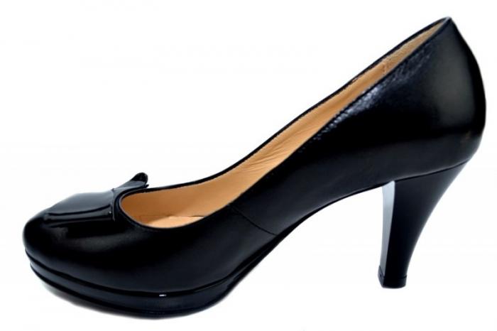 Pantofi cu toc Piele Naturala Negri Yolanda D01335 1