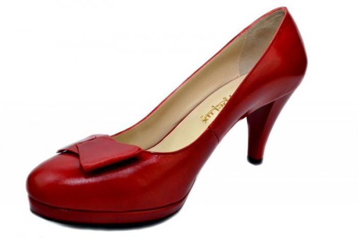 Pantofi cu toc Piele Naturala Rosii Yolanda D01336 [2]