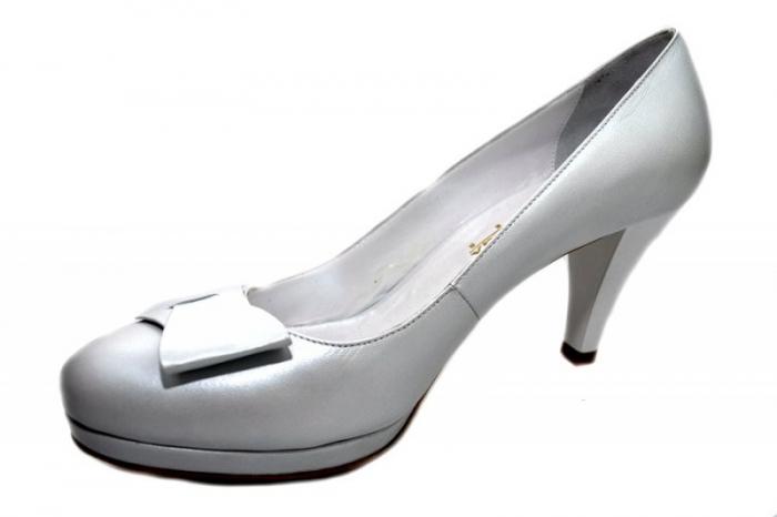 Pantofi cu toc Piele Naturala Albi Yolanda D01337 2