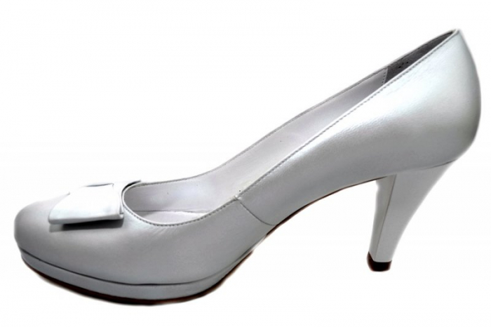 Pantofi cu toc Piele Naturala Albi Yolanda D01337 1