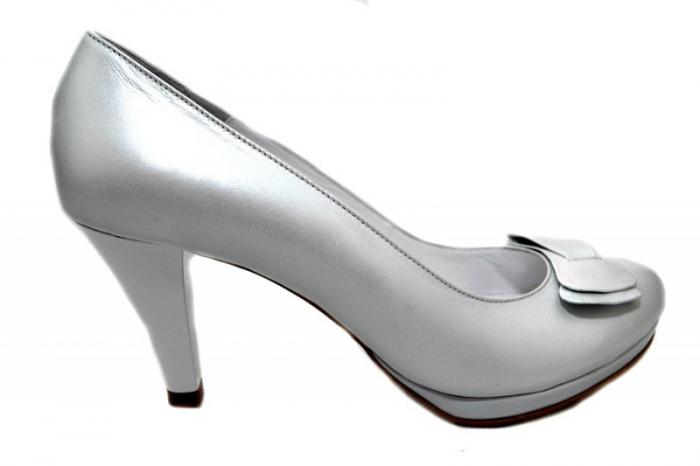 Pantofi cu toc Piele Naturala Albi Yolanda D01337 0