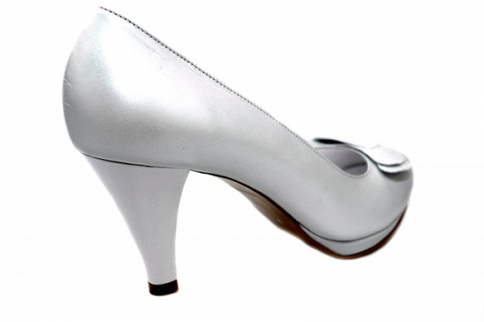 Pantofi cu toc Piele Naturala Albi Yolanda D01337 3