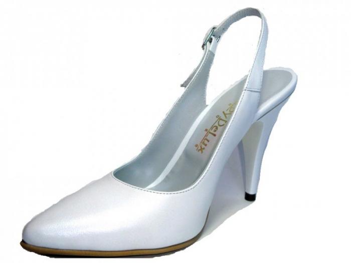 Pantofi Dama Piele Naturala Albi Reli D00340 2
