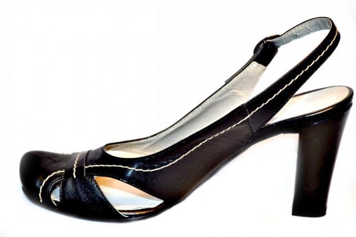 Pantofi-Sanda Dama Piele Naturala Negri Lena 1