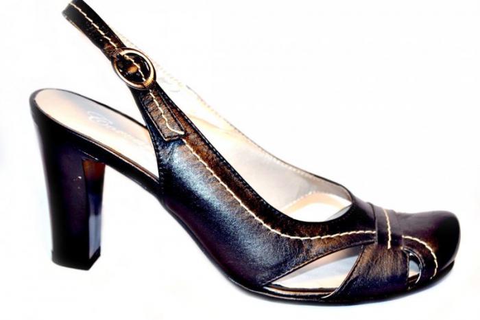 Pantofi-Sanda Dama Piele Naturala Negri Lena 0