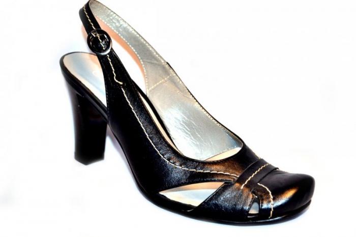 Pantofi-Sanda Dama Piele Naturala Negri Lena 3