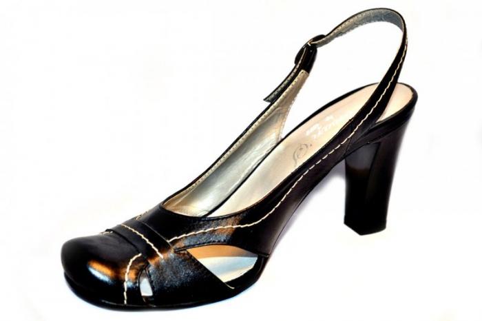 Pantofi-Sanda Dama Piele Naturala Negri Lena 2