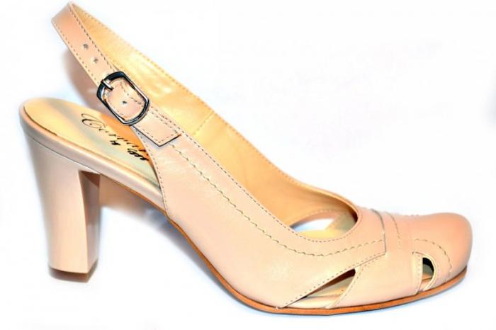 Pantofi Dama Piele Naturala Nude Vecky D00874 0