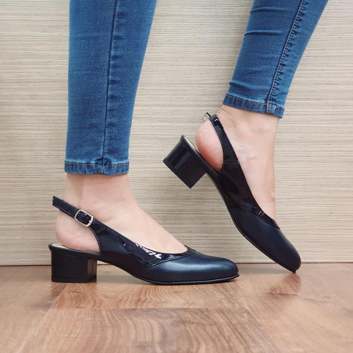 Pantofi Dama Piele Naturala Bleumarin Zarina D02390 0