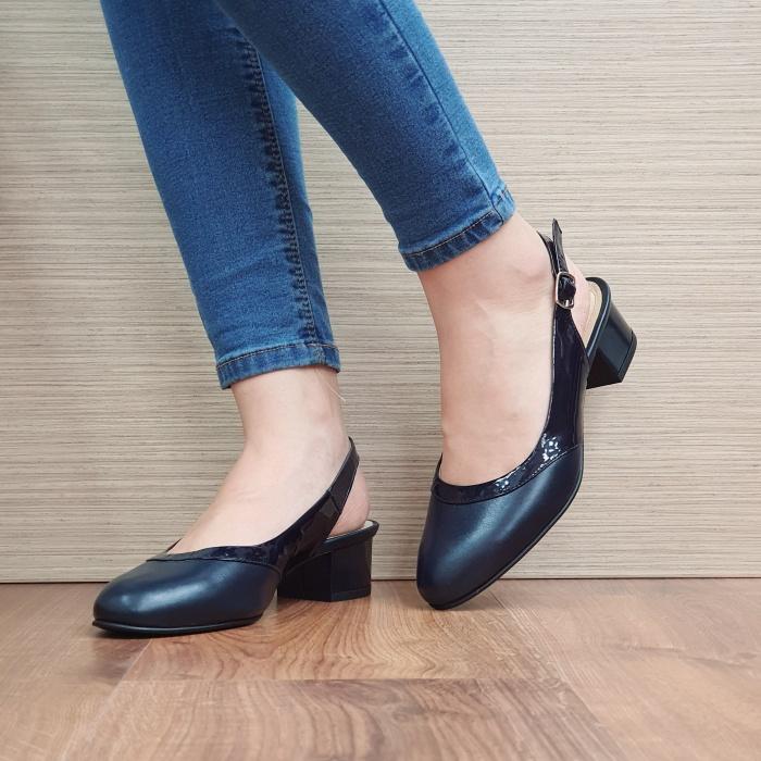 Pantofi Dama Piele Naturala Bleumarin Zarina D02390 2