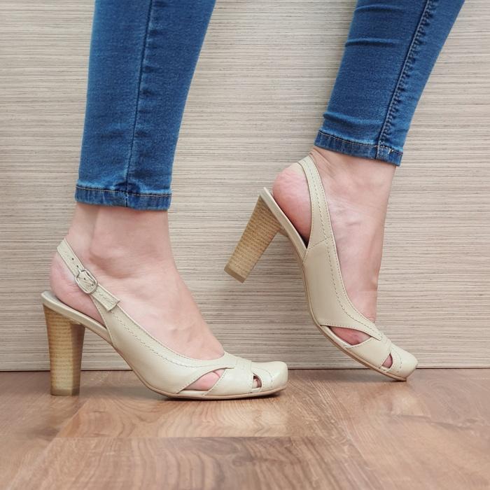 Pantofi Dama Piele Naturala Corvaris Bej Ava D02385 0
