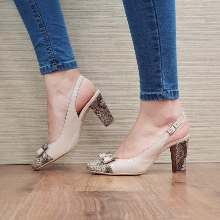 Pantofi Dama Piele Naturala Corvaris Bej Penelope D02386 1
