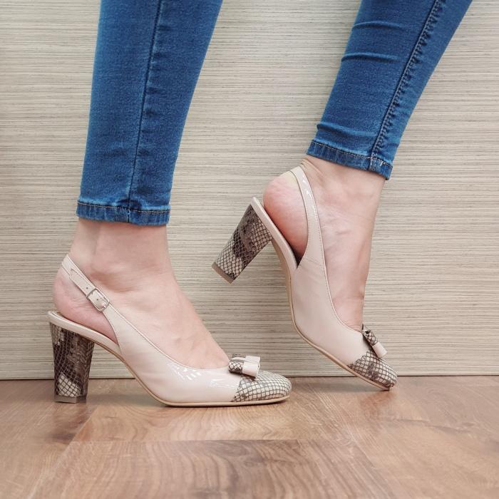 Pantofi Dama Piele Naturala Corvaris Bej Penelope D02386 0