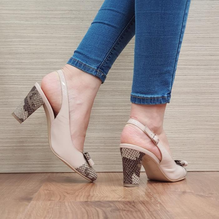 Pantofi Dama Piele Naturala Corvaris Bej Penelope D02386 3