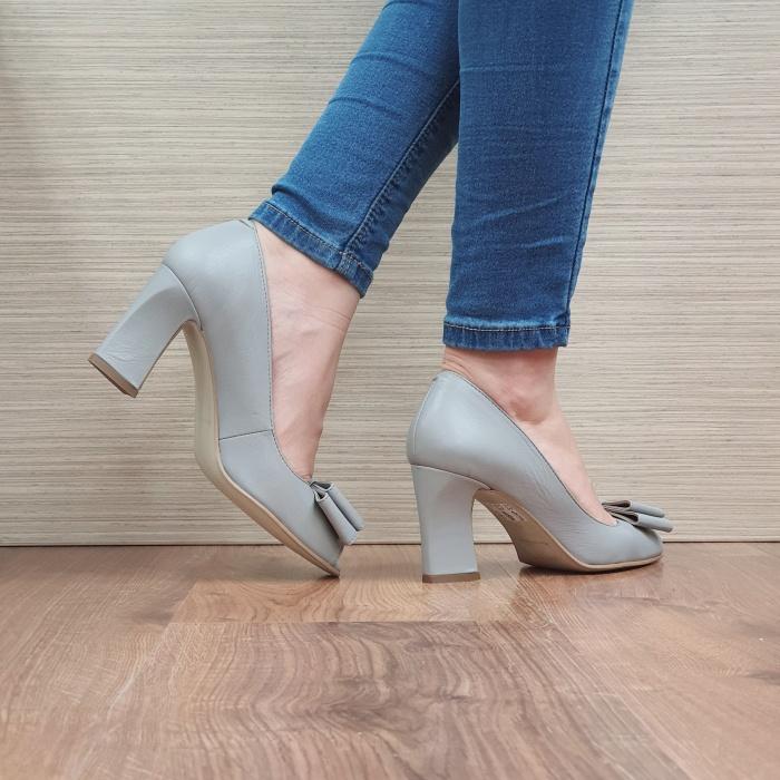 Pantofi Dana Piele Naturala Corvaris Gri Kelsey D02498 3