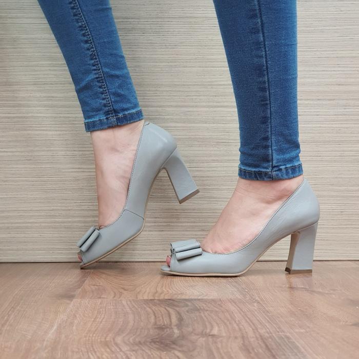 Pantofi Dana Piele Naturala Corvaris Gri Kelsey D02498 1