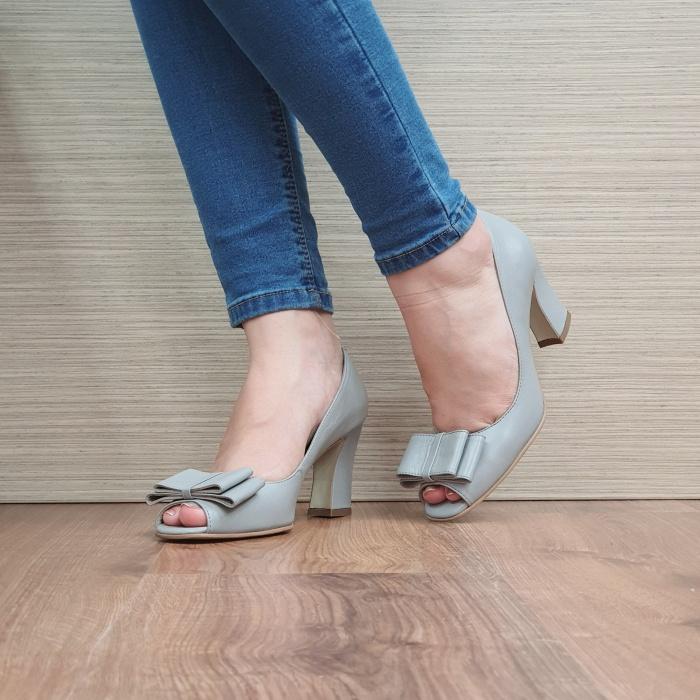 Pantofi Dana Piele Naturala Corvaris Gri Kelsey D02498 2