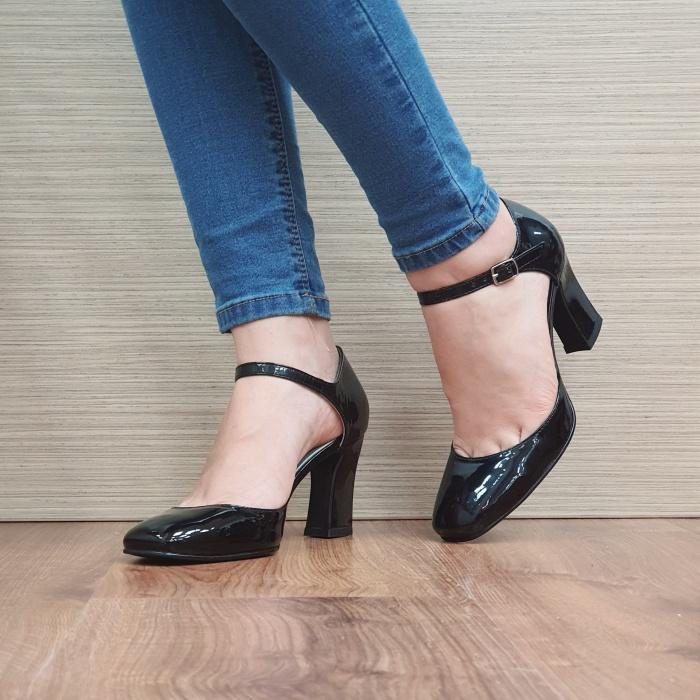 Pantofi Dama Piele Naturala Corvaris Negru Timea D02497 2
