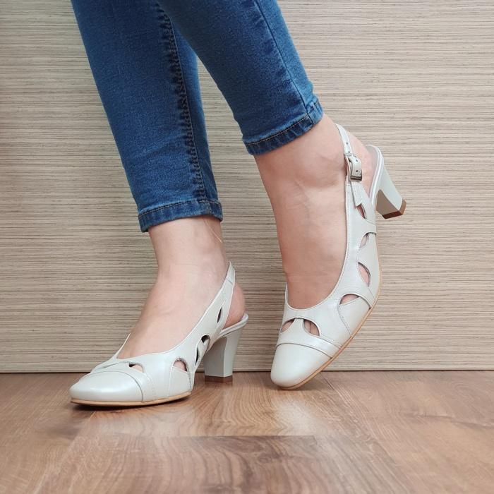 Pantofi Dama Piele Naturala Crem Adrina D02383 2