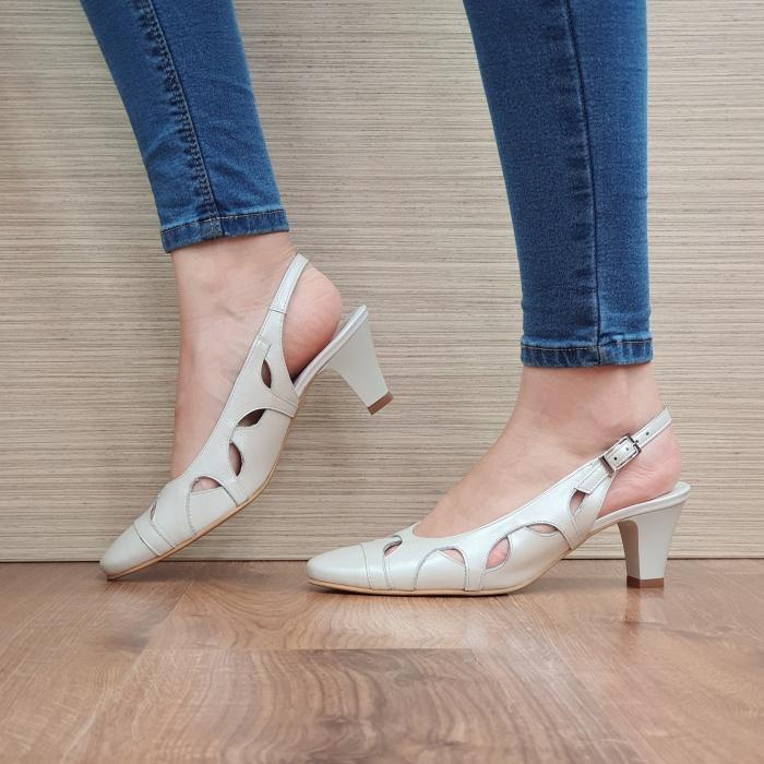 Pantofi Dama Piele Naturala Crem Adrina D02383 1