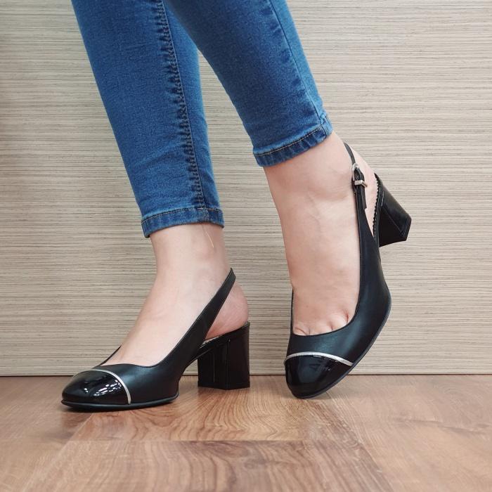 Pantofi Dama Piele Naturala Guban Negri Edith D02392 2