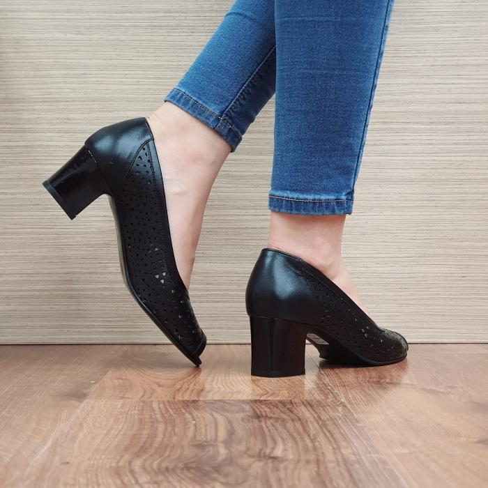 Pantofi Dama Piele Naturala Negri Dona D02453 3