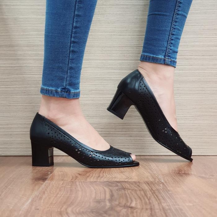 Pantofi Dama Piele Naturala Negri Dona D02453 0