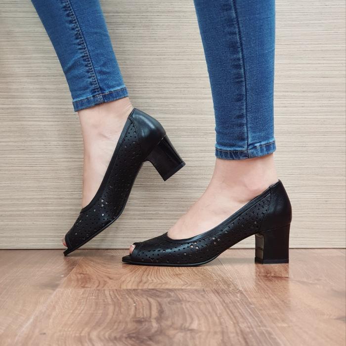 Pantofi Dama Piele Naturala Negri Dona D02453 1
