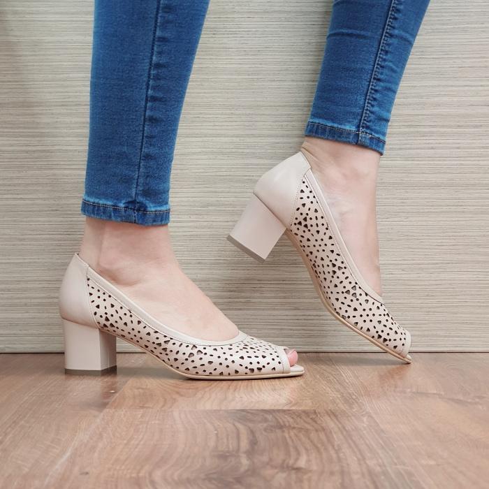 Pantofi Dama Piele Naturala Nude Dona D02452 0