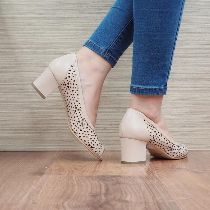 Pantofi Dama Piele Naturala Nude Dona D02452 3