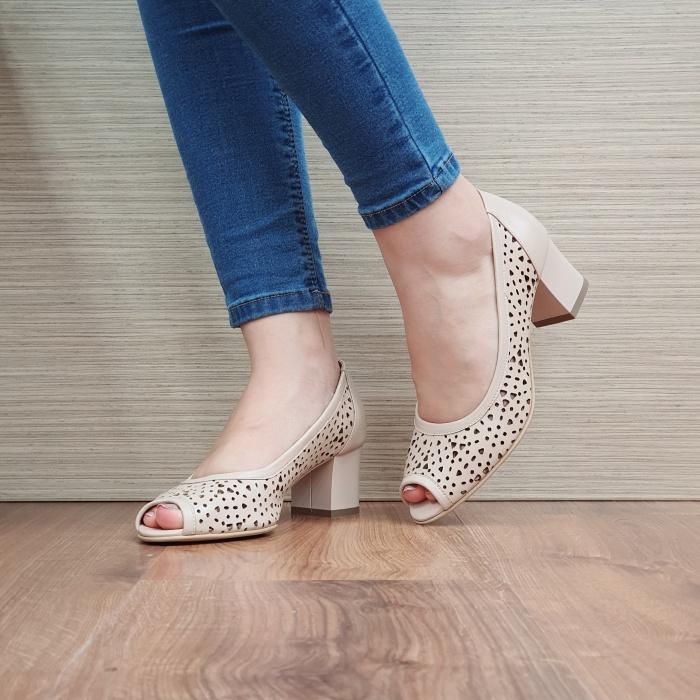 Pantofi Dama Piele Naturala Nude Dona D02452 2