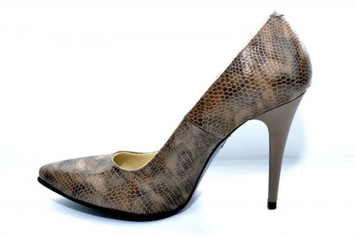 Pantofi cu toc Piele Naturala Maro Barbara D01088 1