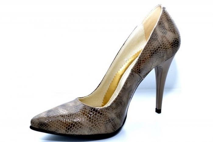 Pantofi cu toc Piele Naturala Maro Barbara D01088 2