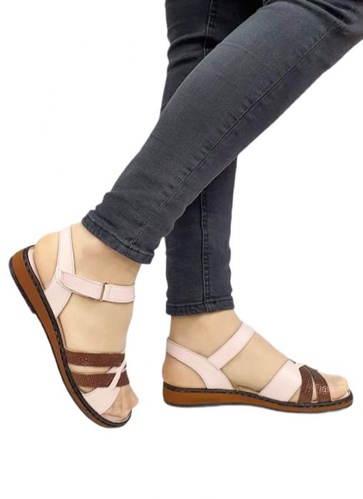 Sandale Dama Piele Naturala Nude Ielna D02713 0