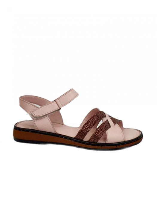 Sandale Dama Piele Naturala Nude Ielna D02713 5