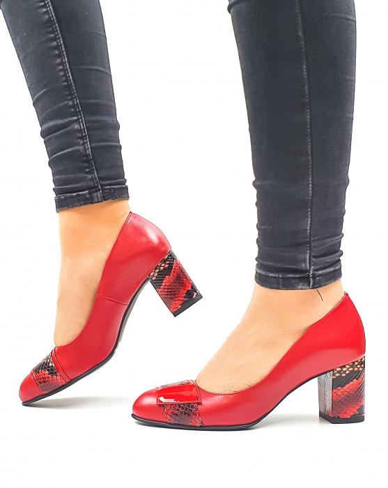Pantofi cu toc Piele Naturala Rosii Moda Prosper Hemilly D02634 1