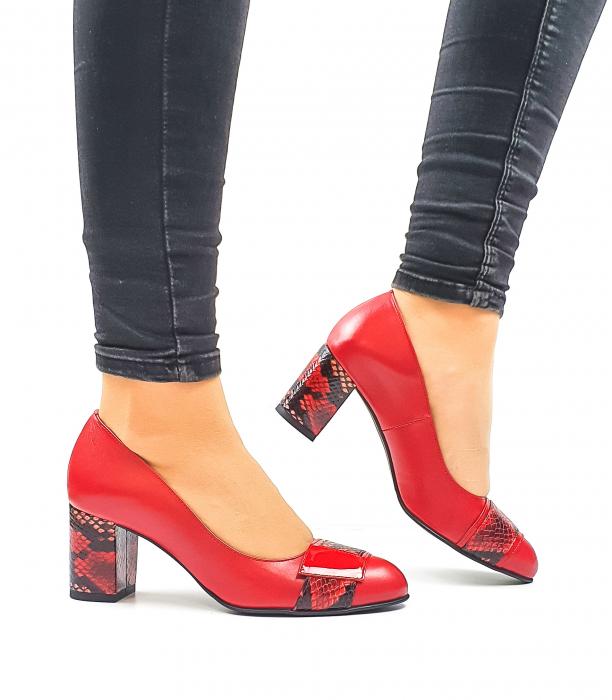Pantofi cu toc Piele Naturala Rosii Moda Prosper Hemilly D02634 0