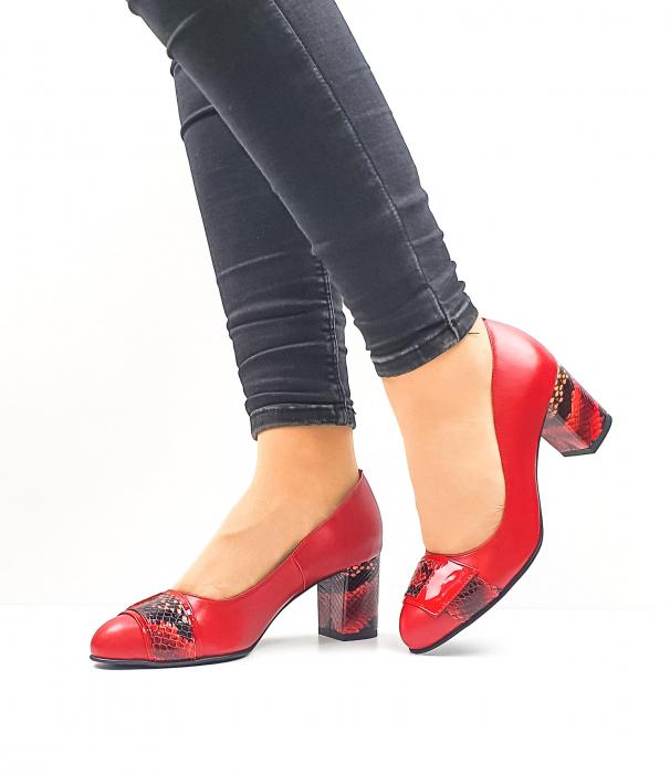 Pantofi cu toc Piele Naturala Rosii Moda Prosper Hemilly D02634 2