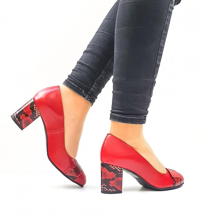 Pantofi cu toc Piele Naturala Rosii Moda Prosper Hemilly D02634 3