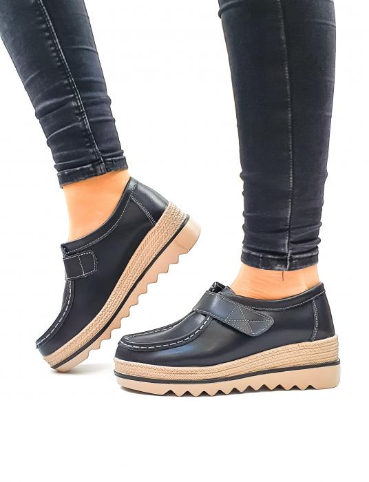 Pantofi Casual Piele Naturala Negri Cynzia D02637 0
