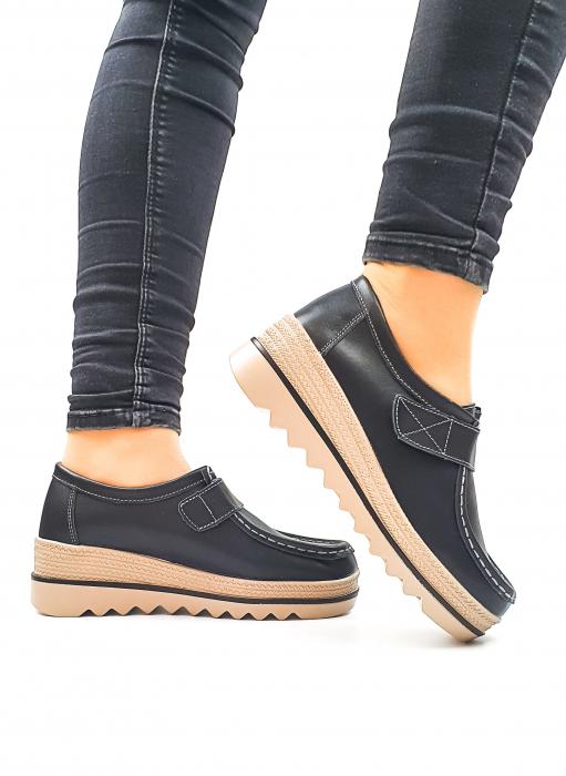 Pantofi Casual Piele Naturala Negri Cynzia D02637 1