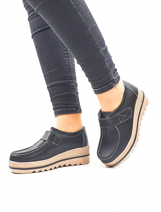 Pantofi Casual Piele Naturala Negri Cynzia D02637 2