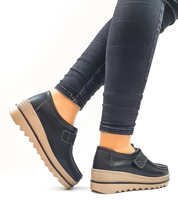 Pantofi Casual Piele Naturala Negri Cynzia D02637 3