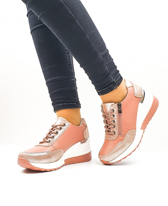Pantofi Casual Dama Piele Naturala Roz Koorine D02638 2