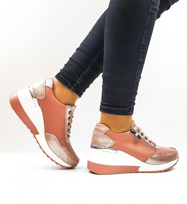 Pantofi Casual Dama Piele Naturala Roz Koorine D02638 3